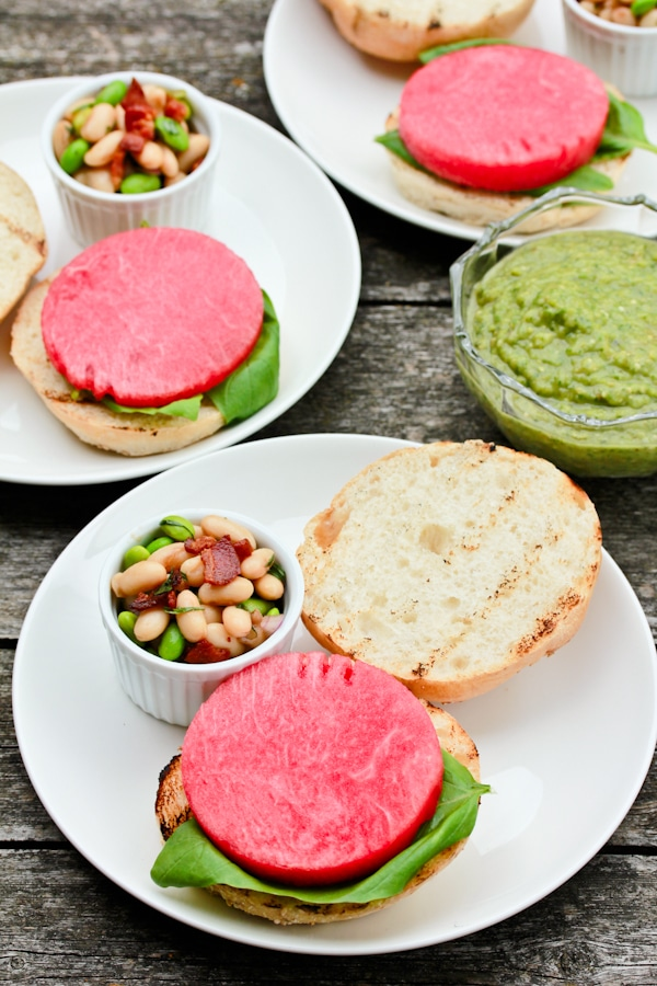 Salsa Verde Burgers with Watermelon and Basil Recipe