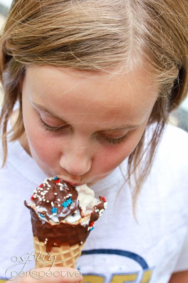 Summer Chocolate Dipped Ice Cream Cones