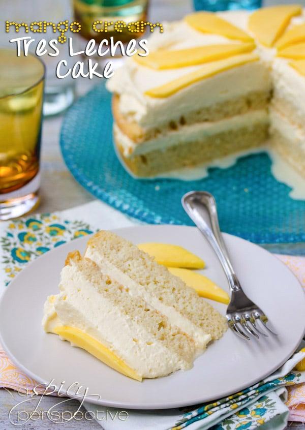Mango Cream Tres Leches Cake Recipe | ASpicyPerspective.com
