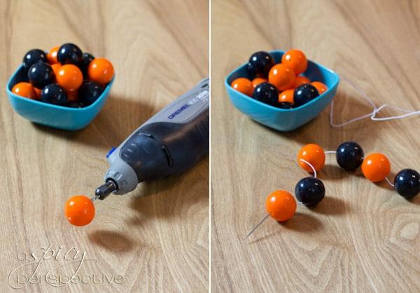 Food Craft: How to Make Gumball Bracelets | ASpicyPerspective.com #KidFriendly #Halloween #EdibleGifts #Gumballs