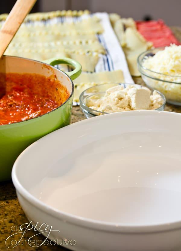 How to make Cream Cheese Lasagna | ASpicyPerspective.com #Lasagna #Pasta