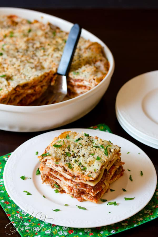 Homemade Cream Cheese Lasagna | ASpicyPerspective.com #Lasagna #Pasta