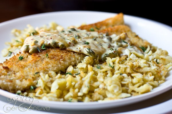 Trout Schnitzel With Spaetzle And Mustard Caper Cream Sauce