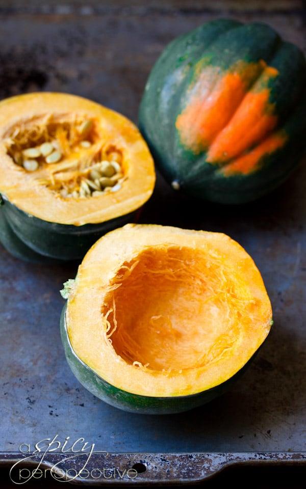 Roasted Acorn Squash | ASpicyPerspecive.com #Halloween #Recipes #Fall