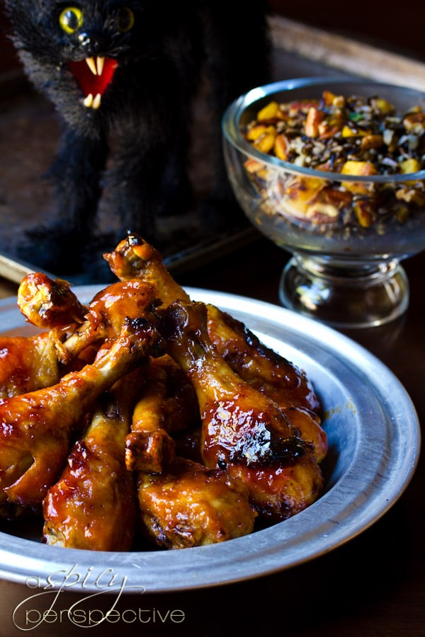 Sweet and Spicy Baked Chicken Drumsticks Recipe | ASpicyPerspective.com #Drumsticks #Recipe #Chicken
