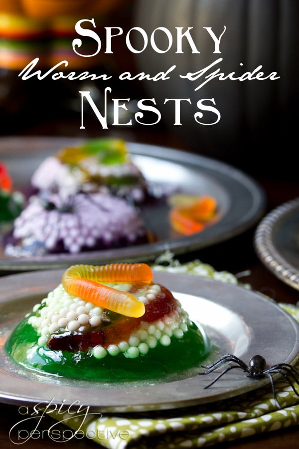 Halloween Dessert: Worm and Spider Nest Treats | ASpicyPerspective.com #Halloween #KidFriendly #Jello