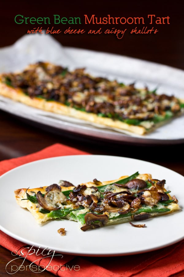Green Bean Mushroom Tart - AKA Green Bean Casserole Tart | ASpicyPerspective.com #thanksgiving #holidays #recipe