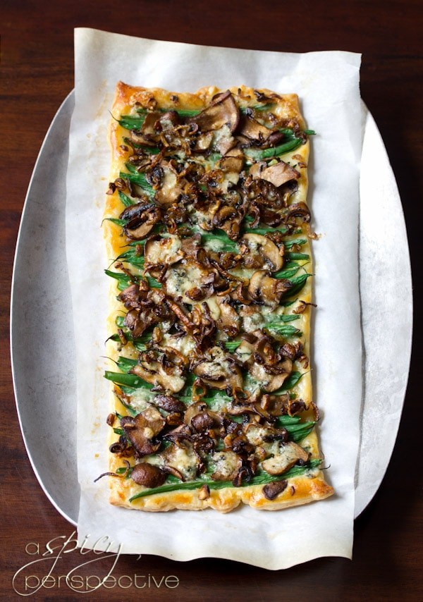 Green Bean Mushroom Tart - A Savory Tart for the Holidays | ASpicyPerspective.com #thanksgiving #holidays #recipe