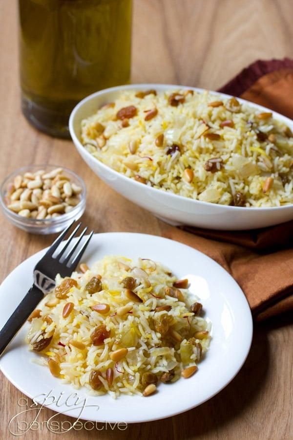 Gluten Free Saffron Rice with Golden Raisins and Pine Nuts #vegan #glutenfree #recipes