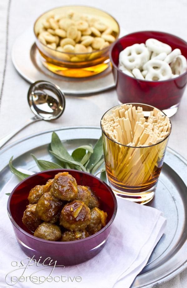 Easy Turkey Meatballs with Orange Marmalade Glaze   ASpicyPerspective.com #holiday #recipe #partyfood
