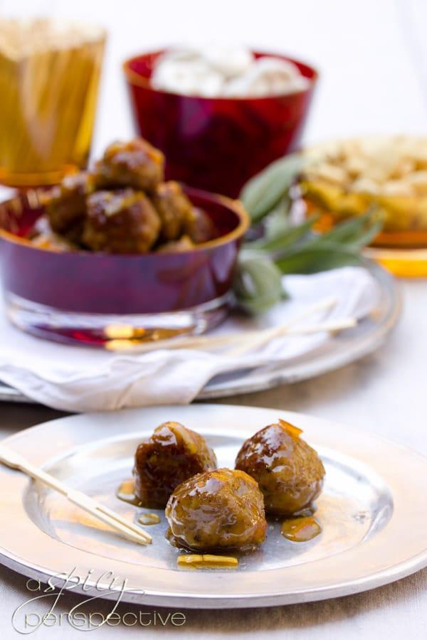 Turkey Meatballs with Orange Glaze   ASpicyPerspective.com #holiday #partyfood #recipe