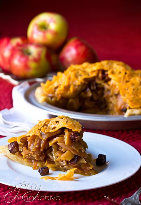 Savory Sweey Apple and Bacon Pie with Cheddar Crust | ASpicyPerspective.com #recipe #applepie #holiday