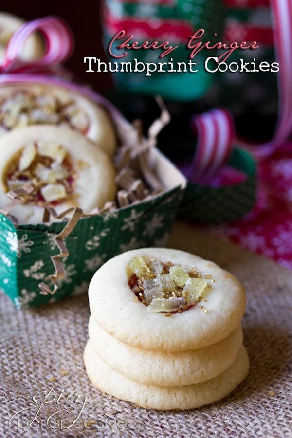 Cherry Ginger Thumbprint Cookie Recipe   ASpicyPerspective.com #cookies #cookieexchange #christmascookies