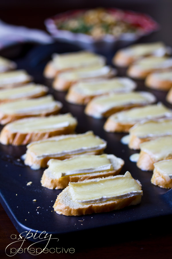 Brie Toasts with Basil   ASpicyPerspective.com