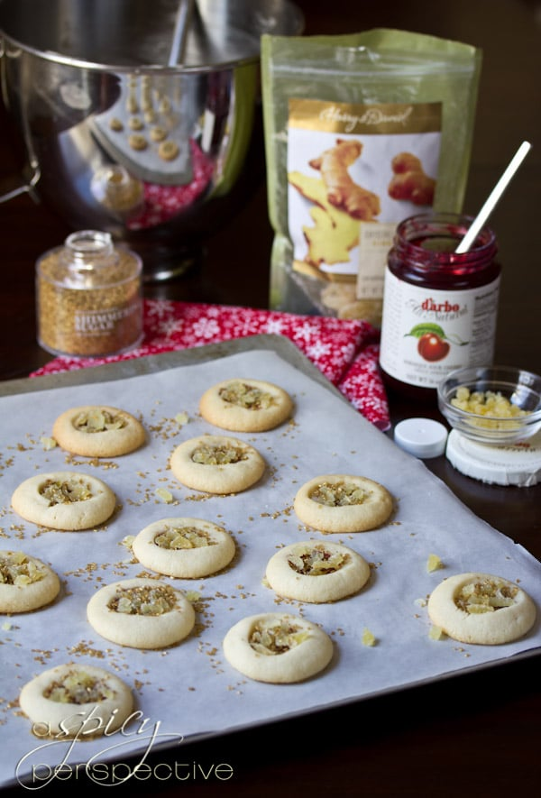 How to Make Cherry Ginger Thumbprint Cookies   ASpicyPerspective.com #cookies #cookieexchange #christmascookies